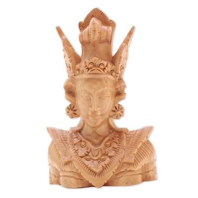Wood sculpture, 'Sita' - Elaborately Carved Wood Sculpture of Sita from Bali