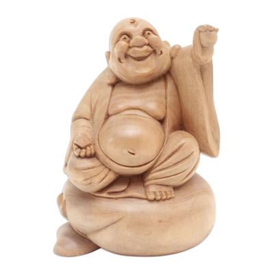 Wood sculpture, 'Happy Buddha of Wealth' - Hand Carved 6-Inch Crocodile Wood Happy Buddha Statuette