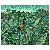 'Landscape in Goa Gajah' - Original Acrylic Lush Green Landscape Painting from Bali