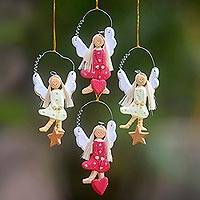 Wood ornaments, 'Angels of Love and Light' (set of 4) - 4 Artisan Crafted Angel Ornaments with Hearts and Stars