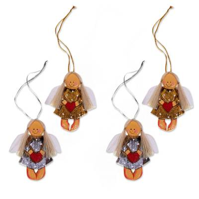 Wood ornaments, 'Heart Angels' (set of 4) - 4 Artisan Crafted Angel with Hearts Christmas Ornaments Set