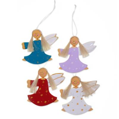 wood ornaments dancing angels set of 4 4 artisan crafted
