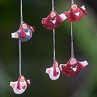 Wood ornaments, 'Red-headed Angels' (set of 6) - Set of 6 Red-Haired Wooden Angel Ornaments with Hearts