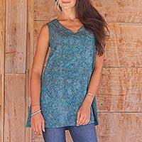 Rayon batik tank top, 'Teal Floral' - Teal and Taupe Floral Batik Tank Top with V Neckline