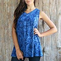 Rayon batik tank top, 'Ocean Depths' - Blue Rayon Tank Top with Hand Stamped Batik Motifs