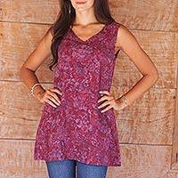 Rayon batik tank top, 'Wine Floral' - Artisan Crafted Batik Tank Top in Wine and Lavender