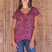 Rayon batik blouse, 'Wine Floral' - Wine Floral Batik Short Sleeve Top from Balinese Artisan