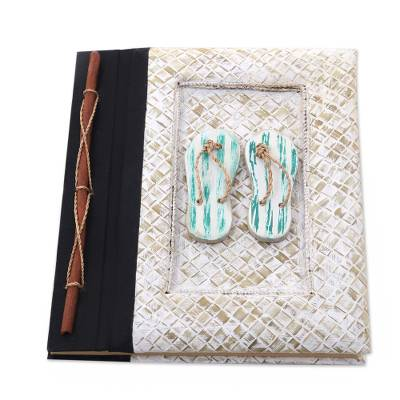 Natural fibers journal, 'The Path Is Green' - Balinese 50-page Rice Paper Journal with Natural Fiber Cover