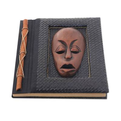 Natural fibers journal, 'Bronze Guardian' - 50-page Rice Paper Journal with Natural Fiber Cover