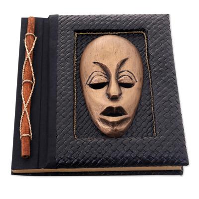 Natural fibers journal, 'Golden Guardian' - Golden Wood Mask on Natural Fiber 50-page Journal