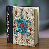 Natural fiber journal, 'Blue Turtle' - Handmade Natural Fiber Blank 50-pg Journal with Turtle Motif