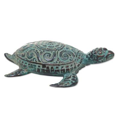 Bronze sculpture, 'Green Turtle' - Artisan Crafted Bronze Turtle with Antique Finish