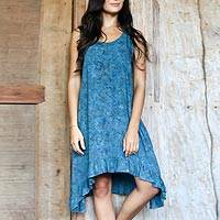 Featured review for Rayon batik dress, Teal Floral