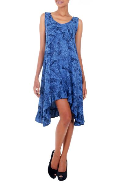 Rayon batik dress, 'Blue Nebula' - Blue Batik Clouds on Sleeveless Sundress with Hi Low Hem