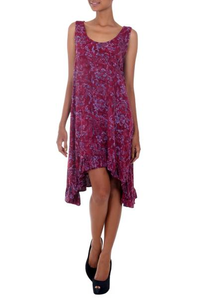 Rayon batik dress, 'Wine Floral' - Batik Printed Maroon and Pink Flowers on Rayon Sundress