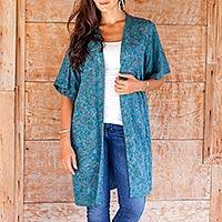 Rayon batik long jacket, 'Teal Floral' - Women's Long Rayon Jacket with Teal Floral Pattern