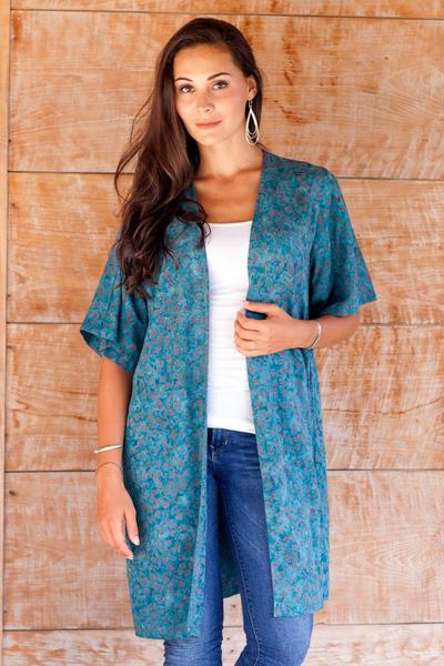 Rayon batik long jacket, 'Teal Floral' - Women's Long Rayon Jacket with Teal Floral Pattern