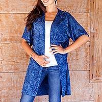 Rayon batik long jacket, 'Ocean Depths' - Blue Rayon Batik Long Open Front Jacket for Women