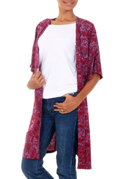 Rayon batik long jacket, 'Wine Floral' - Wine and Lavender Floral Batik Jacket with Open Front