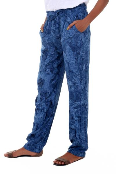 Rayon batik pants, 'Ocean Depths' - Blue Rayon Batik Full Length Loose Fit Women's Pants