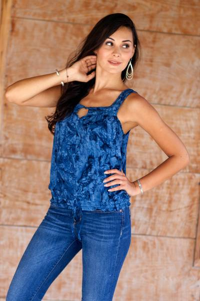 Rayon batik top, 'Ocean Depths' - Blue Rayon Batik Sleeveless Women's Loose Fit Top