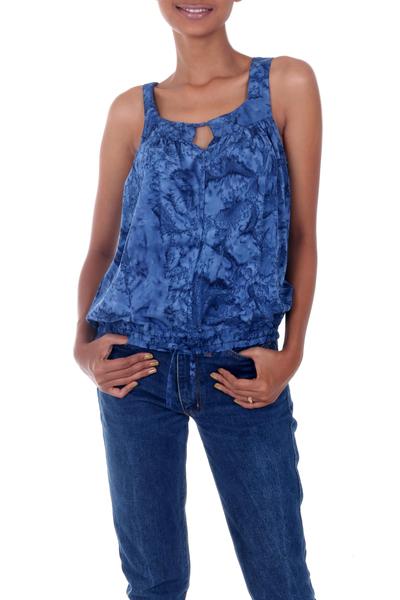 Rayon batik top, 'Ocean Depths' - Blue Rayon Batik Sleeveless Women's Loose Fit Top