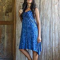 Rayon batik sundress, 'Dreaming of Blue' - Balinese Rayon Batik Sundress in Blue with a Hi Low Skirt