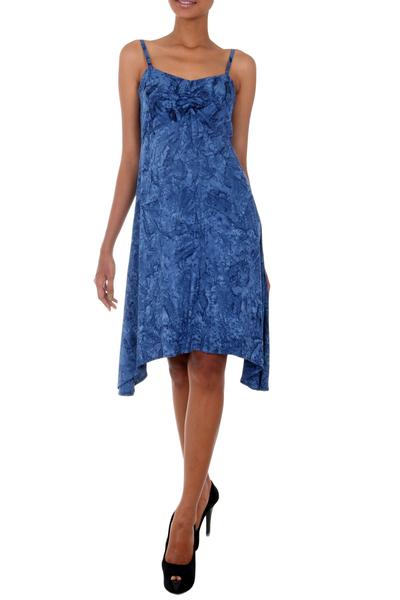 Rayon batik sundress, 'Dreaming of Blue' - Balinese Rayon Batik Sundress in Blue with a Hi Low Skirt