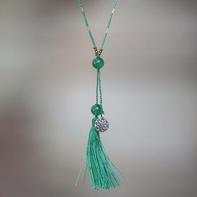 Novica Quartz pendant necklace, Silver Lotus in Green