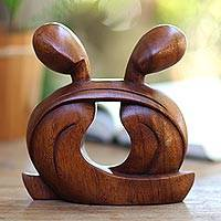 Wood statuette, 'Our Love Forever' - Romantic Wood Sculpture