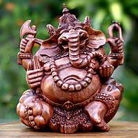 Wood sculpture, 'Ganesha' - Handcrafted Hindu Sculpture