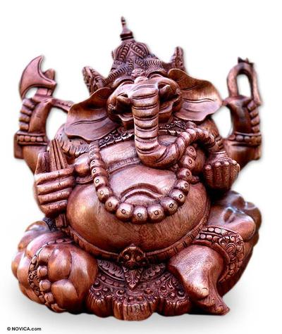 Wood sculpture, 'Ganesha' - Handcrafted Hindu Sculpture