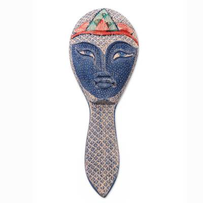 Batik Mask on Artisan Crafted Hand Mirror from Bali
