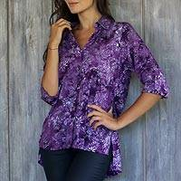 Rayon batik blouse, 'Purple Lily'