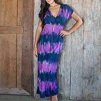 Rayon blend maxi dress, 'Twilight Amlapura'