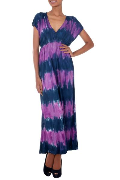 Rayon blend maxi dress, 'Twilight Amlapura' - Hand Crafted Tie Dyed Lilac and Blue Maxi Dress