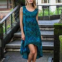 Rayon batik sleeveless dress, 'Kenanga' - Hand Printed Floral Batik Sleeveless Dress from Bali