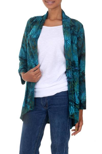 Rayon batik kimono jacket, 'Kenanga' - Long Sleeve Women's Rayon Jacket with Teal Floral Print