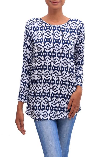 Rayon tunic, 'Candidasa Midnight' - Rayon Long Sleeve Tunic Midnight Blue and White Ikat Motifs