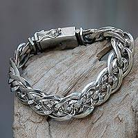 Men's sterling silver chain bracelet, 'Bali Duo'