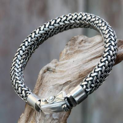 Men's sterling silver chain bracelet, 'Naga Tales' - Artisan Crafted Wide Chain Bracelet in 925 Sterling Silver