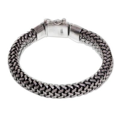 Men's sterling silver chain bracelet, 'Naga Tales' - Artisan Crafted Wide Chain Bracelet in 925 Sterling Silver