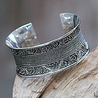 Sterling silver cuff bracelet, 'Fern Tendrils' - Artisan Crafted Ornate Sterling Silver Cuff Bracelet