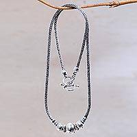 Sterling silver pendant necklace, 'Naga Trio' - Artisan Crafted Sterling Silver Balinese Naga Snake Chain Ne
