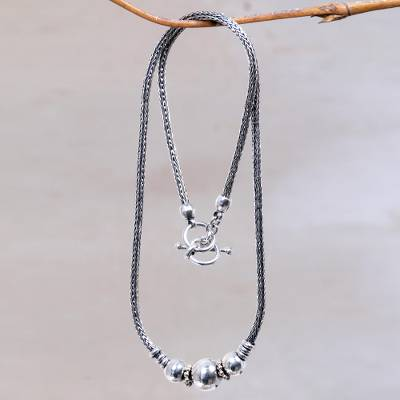 Sterling silver pendant necklace, 'Naga Trio' - Artisan Crafted Sterling Silver Balinese Naga Snake Chain Ne