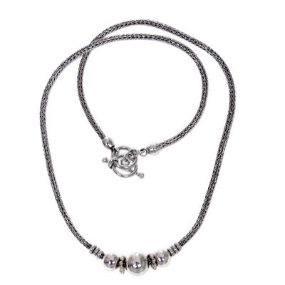 Sterling silver pendant necklace, 'Naga Trio' - Sterling Silver Artisan Designed Pendant Necklace from Bali