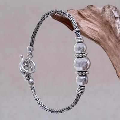 Sterling silver pendant bracelet, 'Naga Trio' - Artisan Crafted Sterling Silver Balinese Naga Snake Bracelet