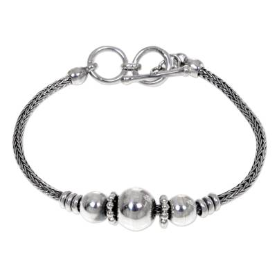 Sterling silver pendant bracelet, 'Naga Trio' - Naga Chain Sterling Silver Bracelet with Ball Pendants