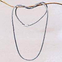 Sterling silver chain necklace, 'Naga Tradition I'