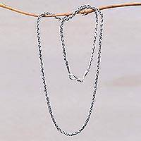 Sterling silver chain necklace, 'Ancient Wheat'